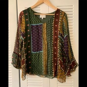 Belle France Made in Italy 🇮🇹 silk caftan top S